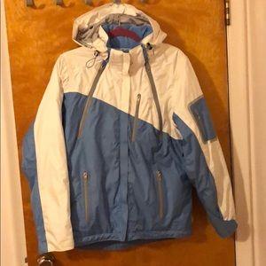 Light blue and white women's Obermeyer Ski jacket